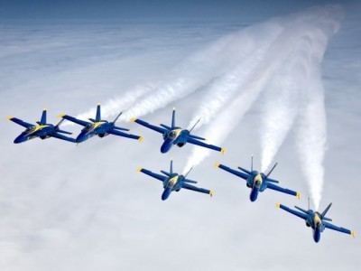 The Blue Angels Demonstration Team join up for their classic 6-Ship Diamond formation over Big Sur, California on the Pacific Coast following the conclusion of the California International Airshow in Salinas.