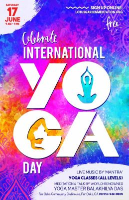 Celebrate international day of yoga presented by lotus garden meditation center free for Lotus garden meditation center