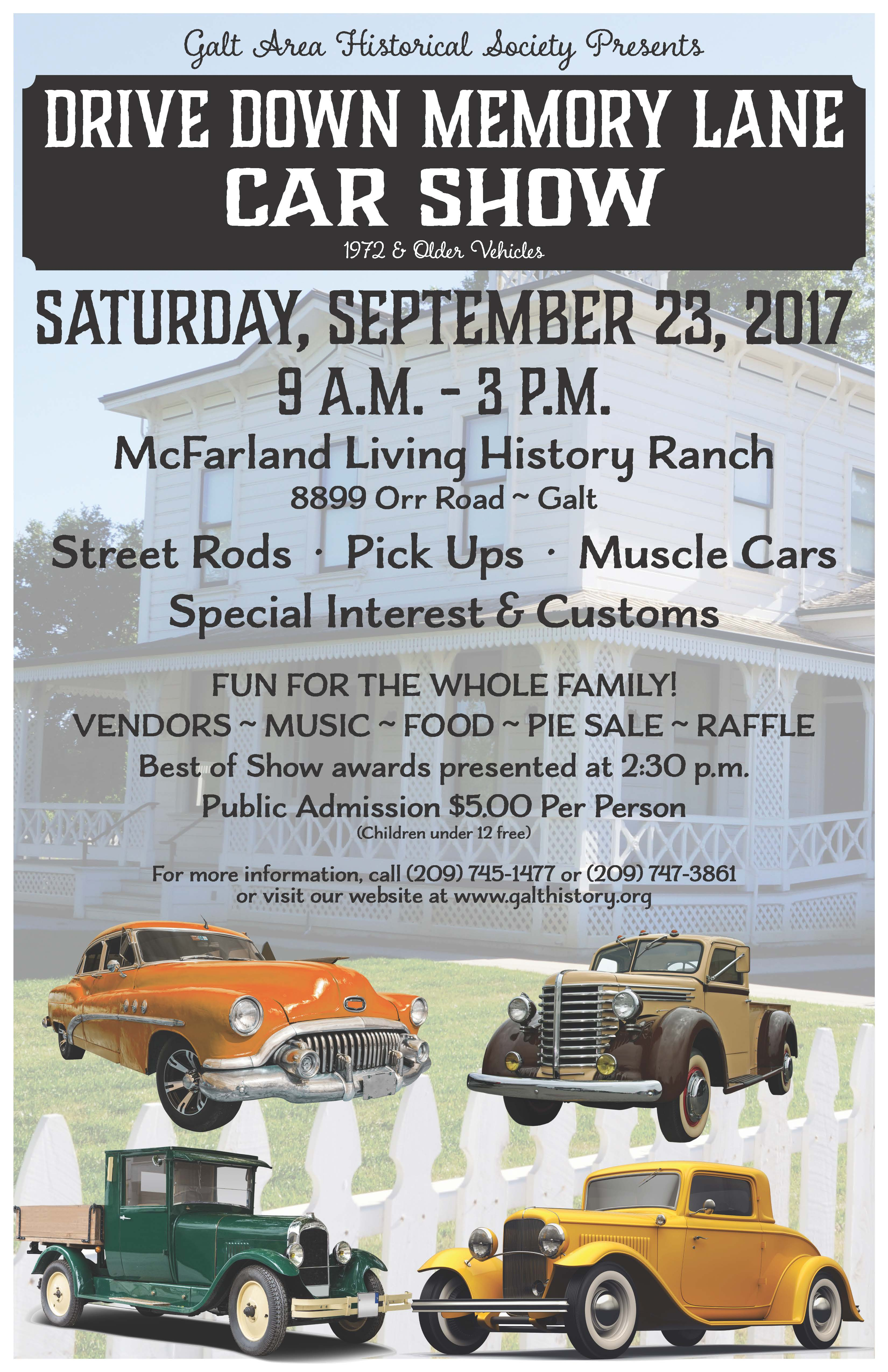 Drive Down Memory Lane Car Show presented by Galt Area Historical ...
