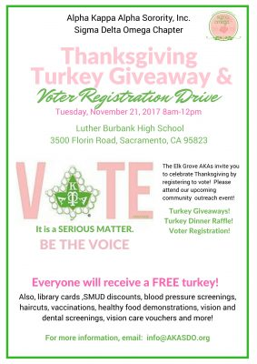 Thanksgiving Turkey Giveaway and Voter Registratio...