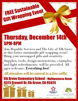 Sustainable Gift Wrapping Event at Elk Grove Eleme...