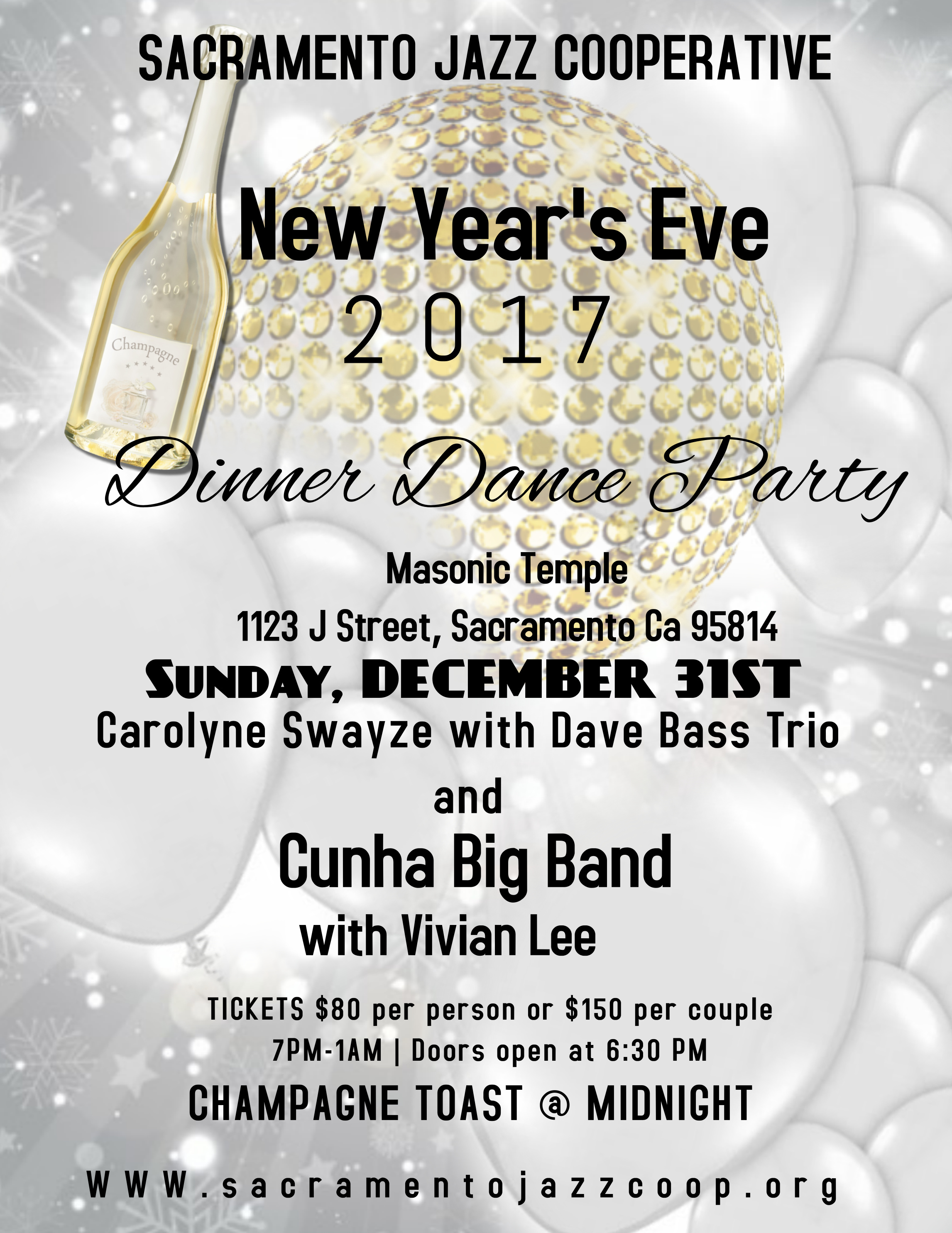 New Year\'s Eve Dinner Dance Party presented by Sacramento Jazz ...