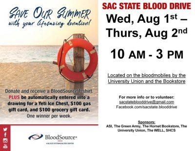Sacramento State Summer Blood Drive