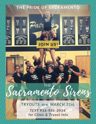 Sacramento Sirens Cheer Tryouts
