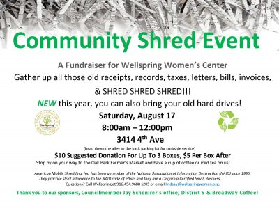 Community Shred Event presented by Wellspring Women's Center