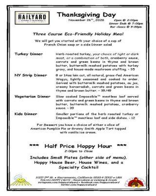 Thanksgiving Day Dinner at Hoppy's Railyard Kitchen and Hopgarden