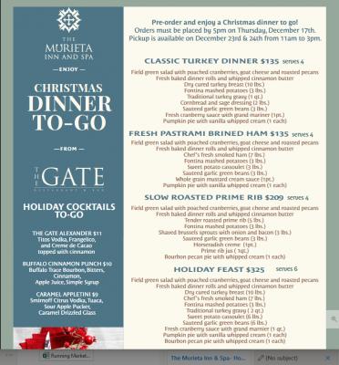 The Murieta Inn and Spa Christmas Dinner To-Go