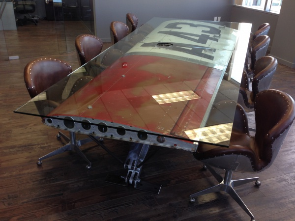 Wood Steel Gl Raw Found Objects Even Salvaged Airplane Wings Make For Great  Tables - Plane - Airplane Wing Coffee Table IDI Design